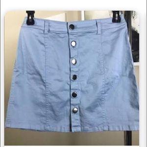 Pastel blue high waisted button up skirt